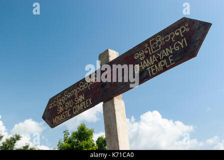 Sign to Temples and Payas of Bagan - Stock Photo