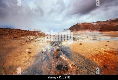 Fumarole field in Namafjall Iceland  - Stock Photo