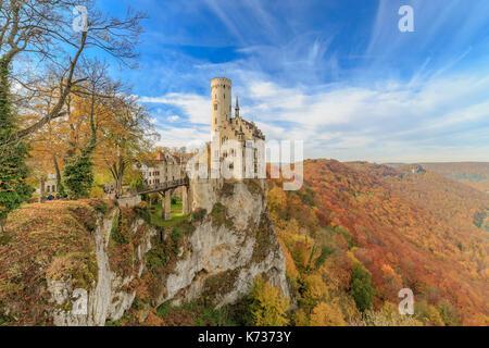 Schloss Lichtenstein Castle near Reutlingen in Autumn - Stock Photo