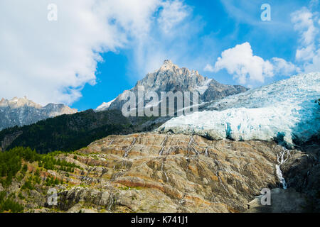 View of Glacier des Bossons, Chamonix Mont Blanc, France - Stock Photo