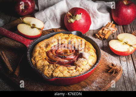 Traditional autumn baking, recipes for thanksgiving, Homemade wholegrain apple galette pie with organic apples and - Stock Photo