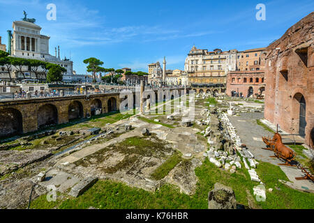 Ancient Roman ruins near the Vittorio Emanuele monument in Rome Italy on a sunny summer day - Stock Photo