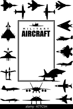Book cover with silhouettes of different types of military aircraft on white background. Size A4 - Vector image - Stock Photo