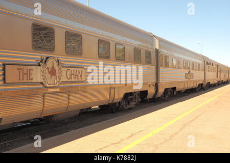 Alice Springs, Australia - September 7, 2017: The famous Ghan railway at the Alice Springs terminal - Stock Photo