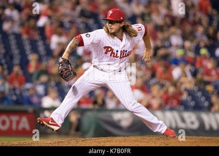 Philadelphia, Pennsylvania, USA. 15th Sep, 2017. Philadelphia Phillies relief pitcher Zac Curtis (52) throws a pitch - Stock Photo