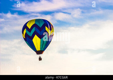 Colorful Hot Air Balloon Early In Morning - Stock Photo