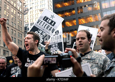 Veterans of the U.S. military assemble and speak at Zuccotti Park in New York on November 2, 2011. As members of - Stock Photo