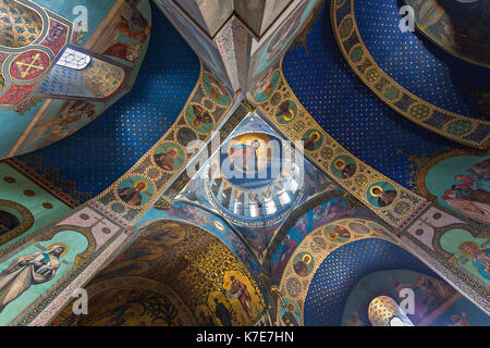 Murals and paintings inside of the Sioni Cathedral, in Tbilisi, Georgia. - Stock Photo