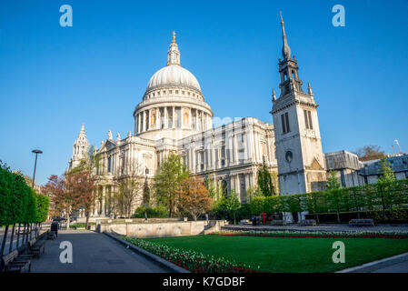 A view of St Paul's Cathedral from Festival Gardens in central London, Great Britain - Stock Photo