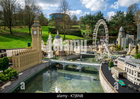 Big Ben and London Eye models in Legoland Windsor miniland, England - Stock Photo