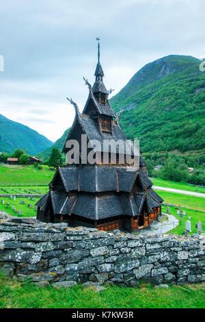 Old wooden Borgund Stave Church, Sogn og Fjordane county, Norway - Stock Photo