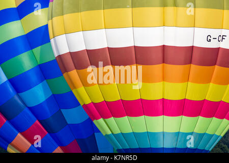 Close up of hot air balloons at Sky Safari hot air balloons festival at Longleat, Wiltshire UK in September - Stock Photo