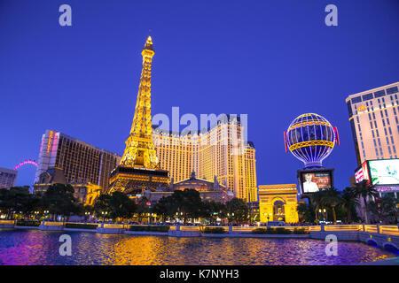 LAS VEGAS, NEVADA - MAY 17, 2017: Beautiful night view of Las Vegas with Paris Resort Casino and hotels in view. - Stock Photo