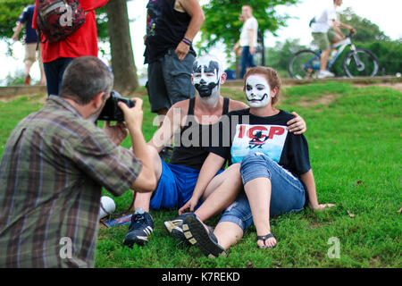 Washington, DC - September 16, 2017: Juggalos gather at the Lincoln Memorial and march on Washington to show their - Stock Photo