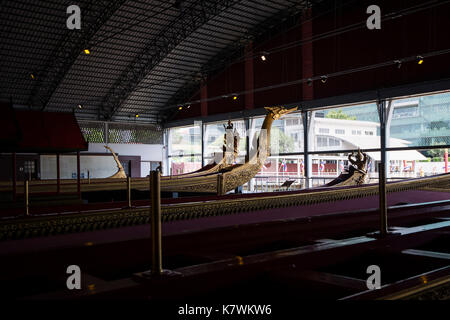 The National Museum of Royal Barges is a museum in Bangkok, Thailand. Royal barges from the Royal Barge Procession - Stock Photo
