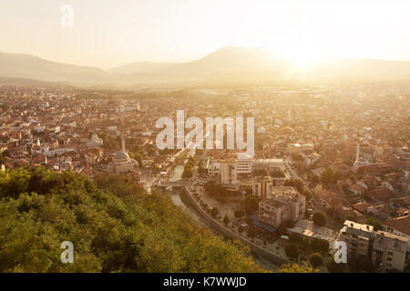 old and cultural city of Prizren, Kosovo in the evening sunshine - Stock Photo