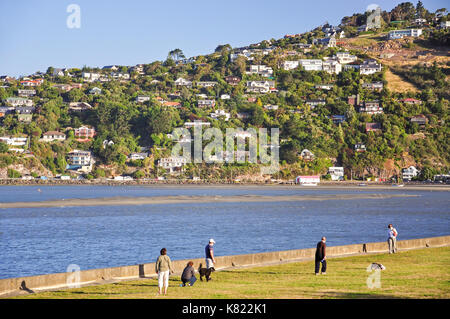 View of Moncks Bay and Clifton from Beachville Road, Redcliffs, Christchurch, Canterbury, South Island, New Zealand - Stock Photo