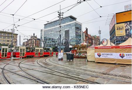 KATOWICE, POLAND - SEPTEMBER 16, 2017: The main square in the city center on 16 September 2017 in Katowice, Poland. - Stock Photo