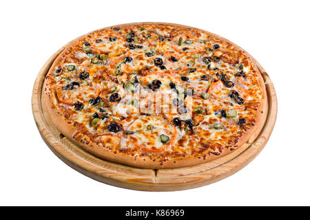 pizza with mushrooms on wooden board. for a directory or menu - Stock Photo