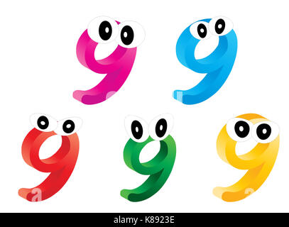 Image of cartoon number, digit nine with eyes. Funny, cheerful and colorful illustration for children isolated on - Stock Photo