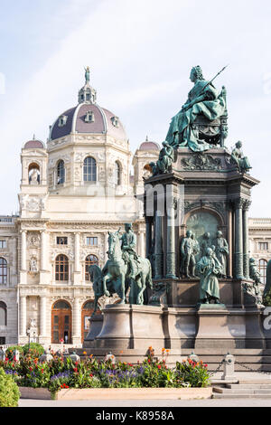 VIENNA, AUSTRIA - AUGUST 28: Tourists at the Maria Theresia monument and the art history museum at the Maria-Theresien - Stock Photo