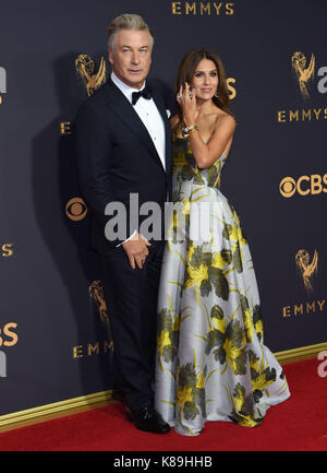 Los Angeles, USA. 17th Sep, 2017. Alec Baldwin, wife Hilaria 258 arriving at the 69th annual Emmy awards at the - Stock Photo