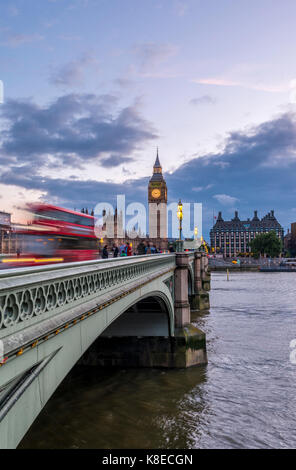 Double decker bus on Westminster Bridge, Westminster Palace, Houses of Parliament, Big Ben, City of Westminster, - Stock Photo
