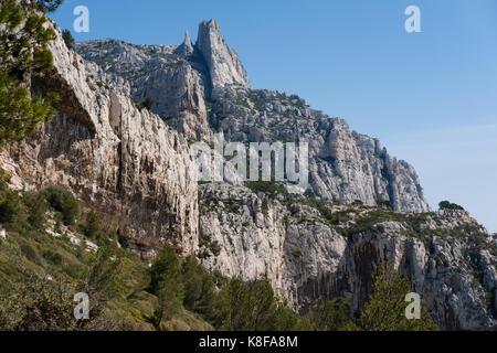 La Candelle rock Calanque de Sugiton,Calanques National Park, southern France - Stock Photo