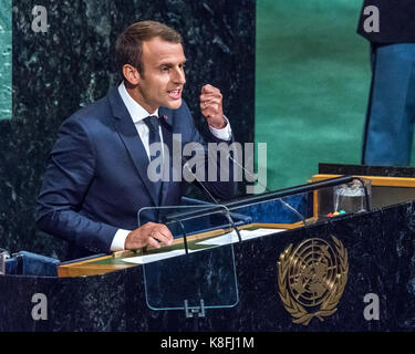 New York, USA. 19th Sep, 2017. French President Emmanuel Macron addresses the opening session of the 72nd United - Stock Photo