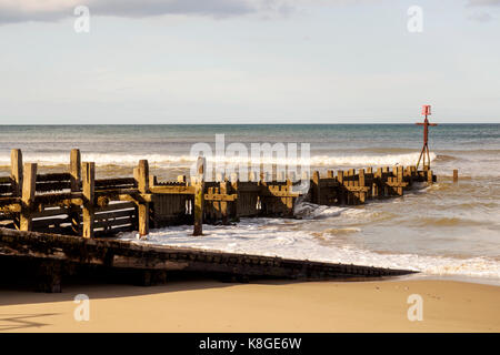 Evening sunlight on weathered wooden groynes forming part of the sea-defences at Walcott in Noroflk. - Stock Photo