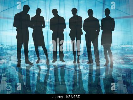 Digital composite of Silhouette of group of people with transition background - Stock Photo
