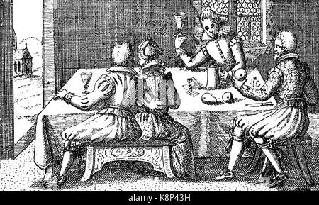 Students at the party, Studenten beim Gelage, 1610, digital improved reproduction of a woodcut, published in the - Stock Photo