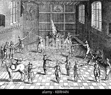 Students fencing, university of Leiden, Holland, Fechtübungen der Studenten in Leiden, 1610, digital improved reproduction - Stock Photo