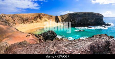 Beautiful Papagayo beach,lanzarote island,panoramic view,Spain. - Stock Photo