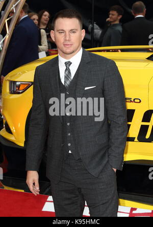Logan Lucky UK film premiere at the Vue West End, Leicester Square, London  Featuring: Channing Tatum Where: London, - Stock Photo