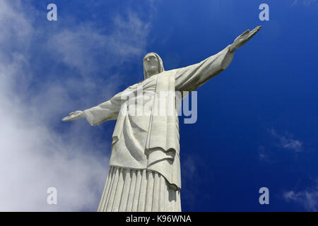 REDEEMER CHRIST, RIO DE JANEIRO, BRAZIL - MARCH 18, 2016: Bottom view of the Christ Redeemer´s Statue. The deep - Stock Photo