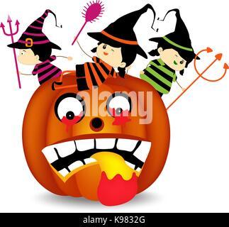 Halloween children wearing costume on pumpkin - Stock Photo