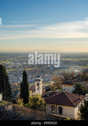 View over Citta Alta or Old Town buildings in the ancient city of Bergamo, Lombardia, Italy on a clear day, taken - Stock Photo