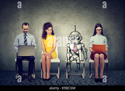 Cartoon robot sitting in line with applicants for a job interview - Stock Photo