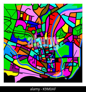 Colourful Graphic Representation of a Map of Bath - Stock Photo