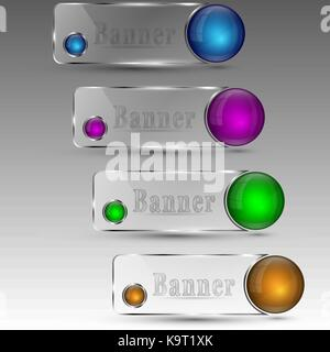 Vector illustration of clear banners with blue purple green and orange colored circles - Stock Photo