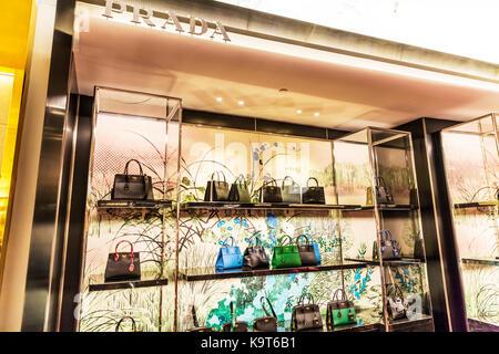Prada handbags, Prada, Prada bags, Prada bag display, Prada handbag display, Prada shop display, handbags, bags, - Stock Photo
