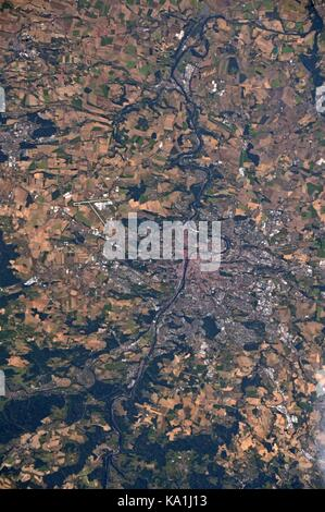 View from the International Space Station of Prague the capital city of the Czech Republic from Earth Orbit. - Stock Photo