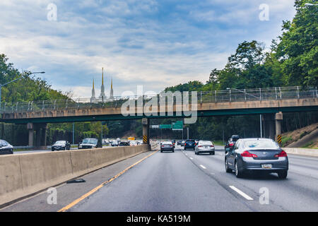 Kensington, USA - September 16, 2017: Highway with Church of Jesus Christ of Latter-day Saints Mormon Temple in - Stock Photo