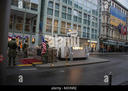 Checkpoint Charlie in berlin, Germany - Stock Photo