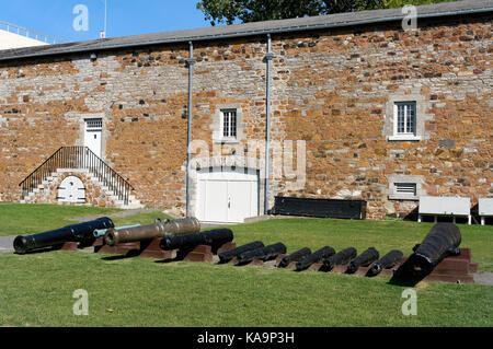 British 19th century cannons  in the courtyard of the Stewart Museum or Musee Stewart in Parc Jean-Drapeau park, - Stock Photo