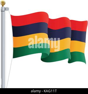 Waving Mauritius Flag Isolated On A White Background. Vector Illustration. - Stock Photo