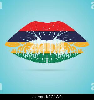 Mauritius Flag Lipstick On The Lips Isolated On A White Background. Vector Illustration. - Stock Photo