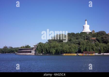 BEIJING, CHINA - SEP 22, 2017 : White pagoda at Beihai park, Beijing - Stock Photo