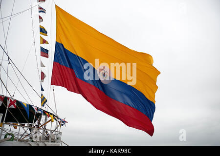 A.R.C. Gloria, training ship and the official flagship of the Colombian Navy, flying naval ensign, during a port - Stock Photo